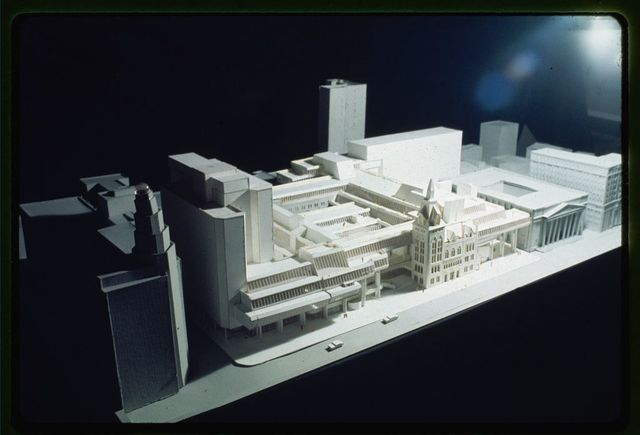 [New Haven Government Center, New Haven, Connecticut. Model B. Façades facing New Haven Green. Model from above]