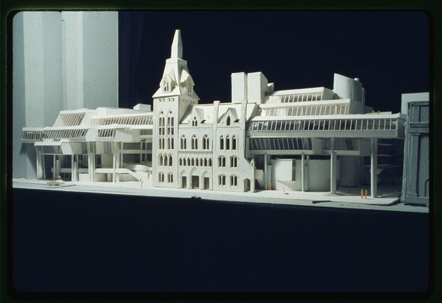 [New Haven Government Center, New Haven, Connecticut. Model B. Façades facing New Haven Green. Street level view]