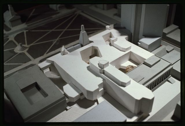 [New Haven Government Center, New Haven, Connecticut. Model C. View toward New Haven Green. Model from above]