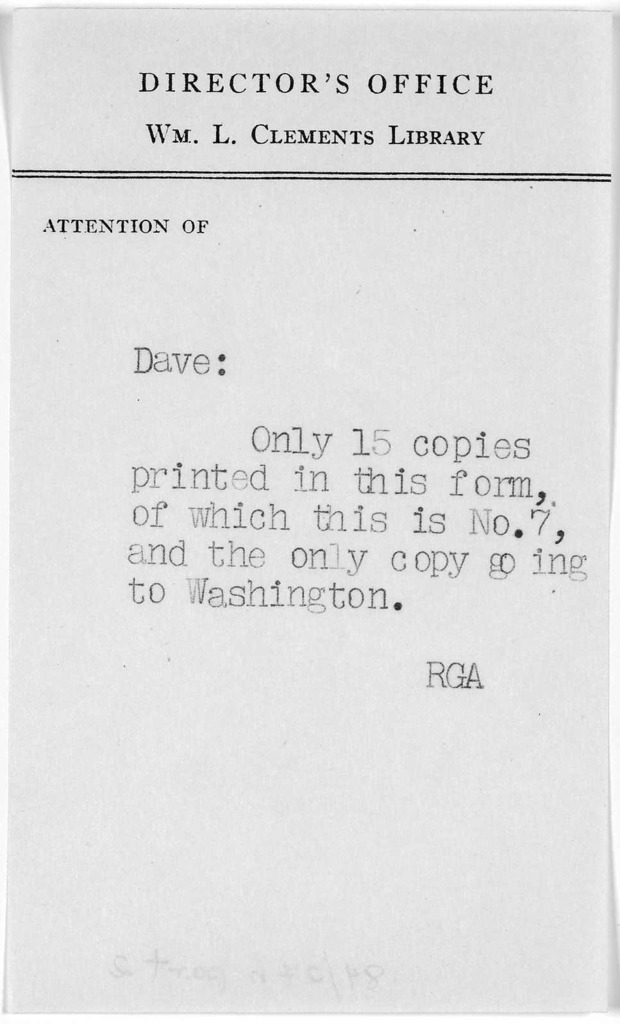 Th: Jefferson begs the favor of Capt. Cutting's company to dinner with a small party of friends, on Monday next, at half after three. Jan. 24, 93. The favor of an answer is requested. [Ann Arbor?] Clements Library, [1968?].