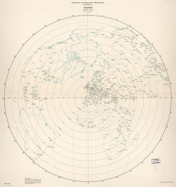 Azimuthal equidistant projection centered on Madrid, 40⁰24ʹN., 3⁰41ʹW. 6-69.
