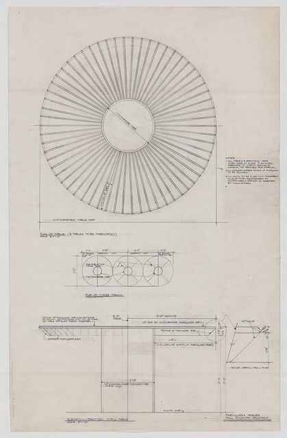 [Dining table for Gardner Cowles apartment, New York City. Plan, elevation, and section]