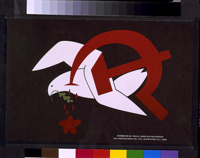 [Dove carrying olive branch, being stabbed by hammer and sickle and dripping blood in the shape of a star]