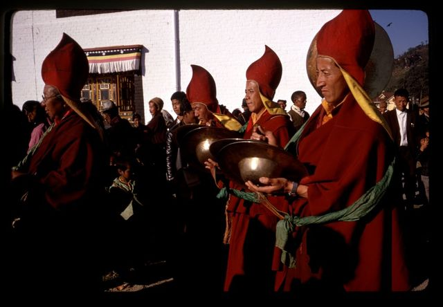 [Lamas playing cymbals during New Year's ceremony, Gangtok, Sikkim]