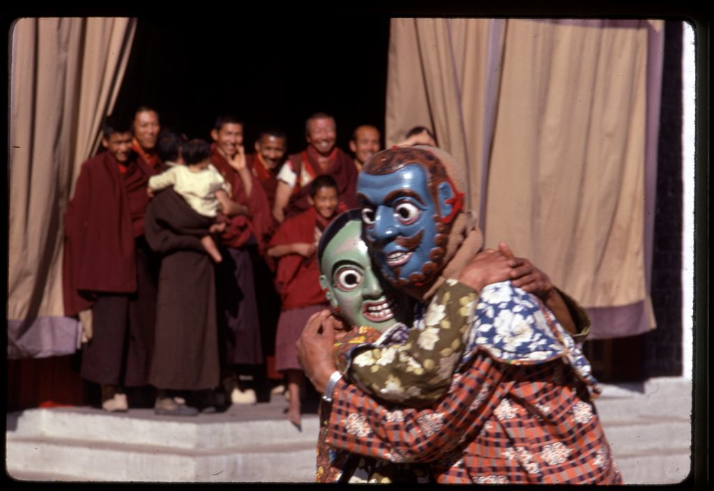 [Masked clowns entertaining crowd at the New Year's ceremony, Gangtok, Sikkim]