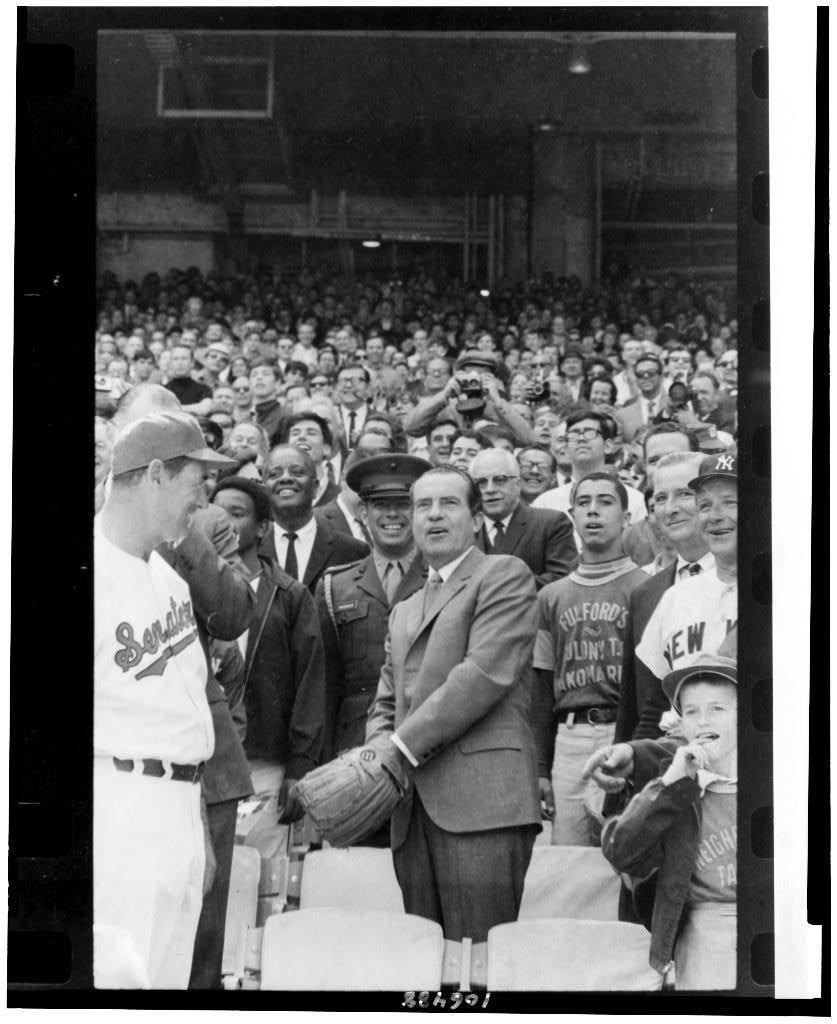 [Pres. Richard Nixon tossing out baseball, at Senators' opening game with New York, Washington, D.C.]