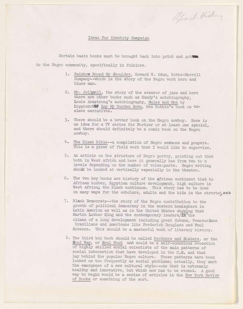 Alan Lomax Collection, Manuscripts, Black Identity Project, 1968-1970, administrative, 1970