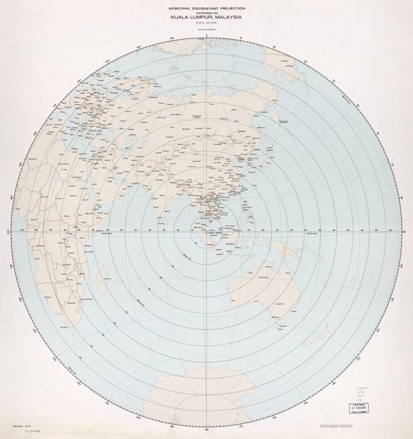Azimuthal equidistant projection centered on Kuala Lumpur, Malaysia, 3⁰10ʹN., 101⁰42ʹE. 10-71.