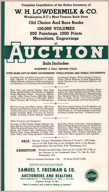 Complete liquidation of the entire inventory of W. H. Lowdermilk & Co., Washington, D. C.'s most famous bookstore. [Washington, 1970?].