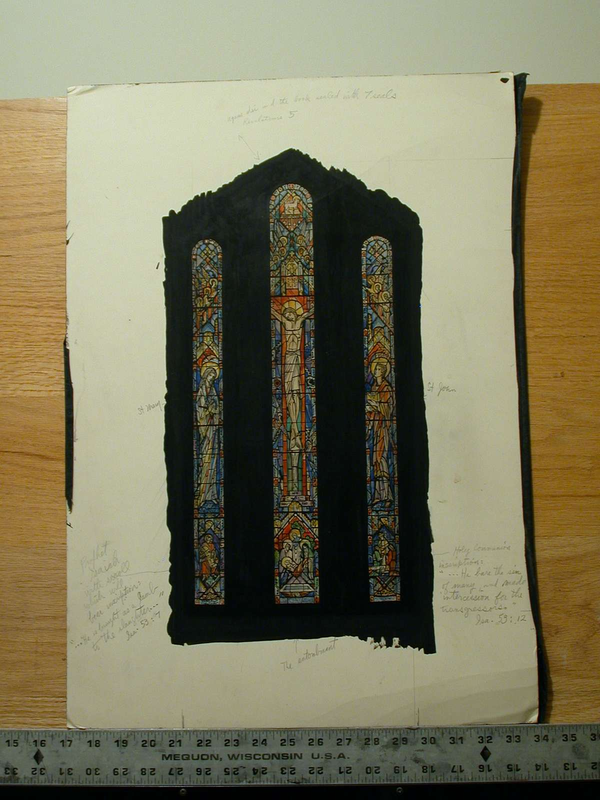 """Design drawing for stained glass window """"He Was Crucified"""" for Trinity Episcopal Church in Towson, Maryland"""
