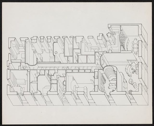 [Edersheim apartment, New York City, New York. Axonometric plan with furnishings]