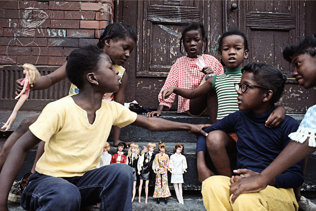 Girls with Barbies, East Harlem, 1970