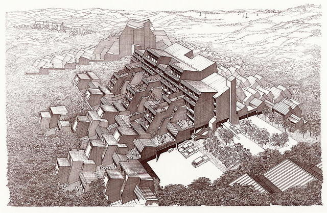 [Resort community, Stafford Harbor, Virginia (project). Hills, bird's-eye perspective]