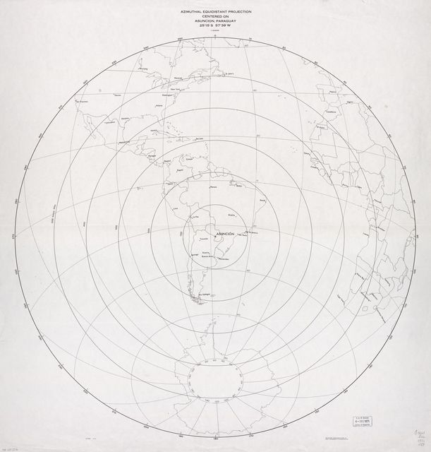 Azimuthal equidistant projection centered on Asuncion, Paraguay 25⁰15ʹS., 57⁰39ʹW. 4-71.
