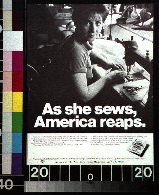 As she sews, America reaps