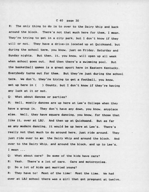 Oral history with 16 year old white female, Jackson, Kentucky (Transcript)