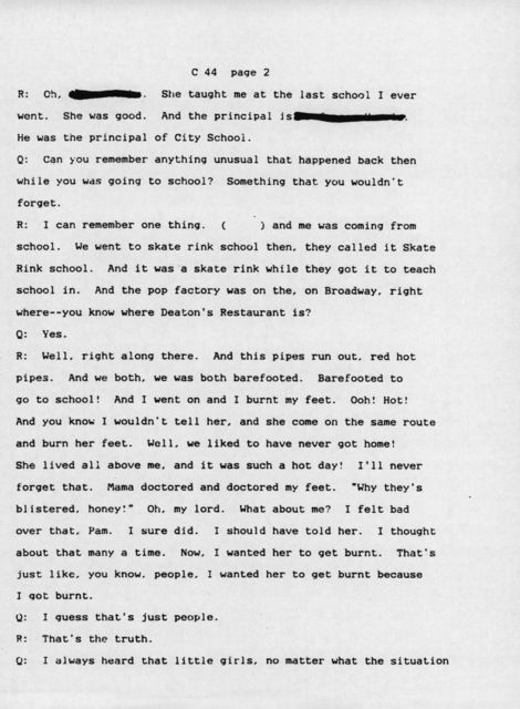 Oral history with 74 year old white female, Quicksand, Kentucky (Transcript)