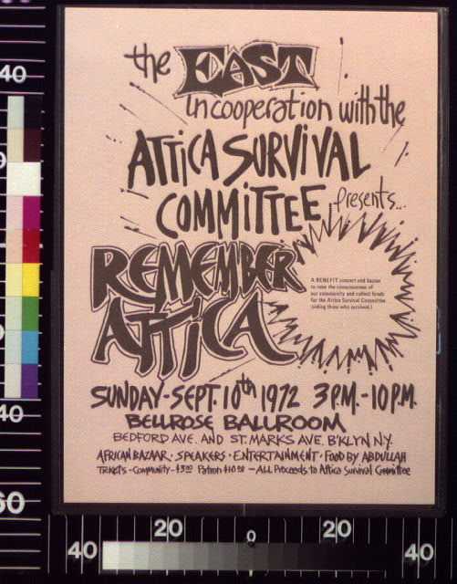 The east in cooperation with the Attica Survival Committee presents -- Remember Attica : a benefit concert and bazaar ...