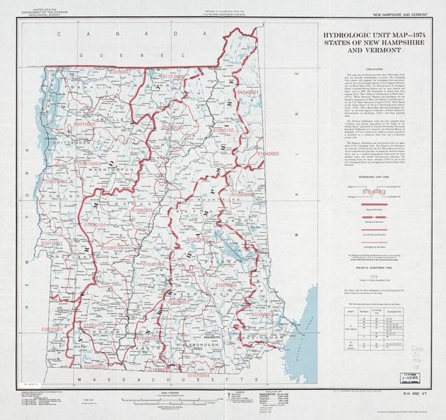 Hydrologic unit map--1974, States of New Hampshire and Vermont.