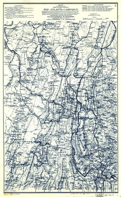 Map illustrating the first epoch of the Atlanta Campaign : embracing the region from the Tennessee River to the Oostanaula River, showing the positions held and lines of works erected by the enemy, also the lines of works erected by the United States forces, the lines of march traversed by them and their relative location in line of battle when attacking the enemy, commanding United States forces, Major-General W. T. Sherman, commanding rebel forces, Lieut. General J. E. Johnston /