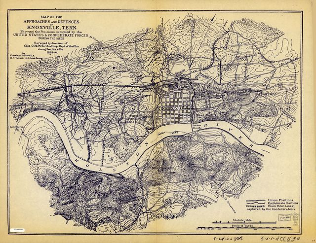 Map of the approaches and defences of Knoxville, Tenn., showing the positions occupied by the United States & Confederate forces during the siege.