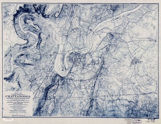 Map of the battlefields of Chattanooga, movement against Orchard Knob.