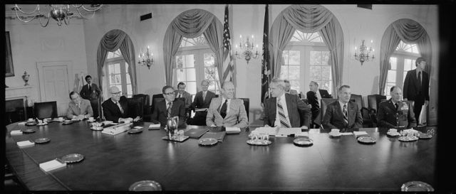 [President Gerald Ford meeting with the National Security Council in the Cabinet Room of the White House, Washington, D.C.]