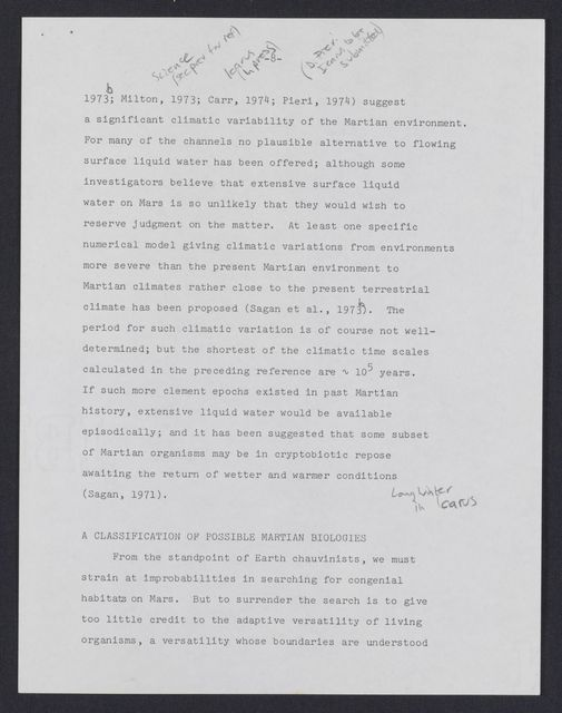 The prospects for life on Mars: A post Mariner 9 assessment : draft