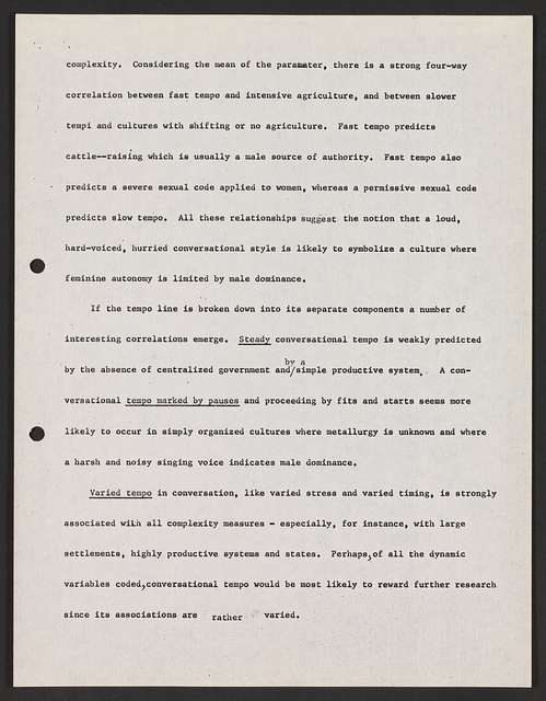 Alan Lomax Collection, Manuscripts, Performance style, writings, unpublished, Culture and Expressive Communication, Chapters 3 and 5: The Language of Song, Main Factors in Speaking