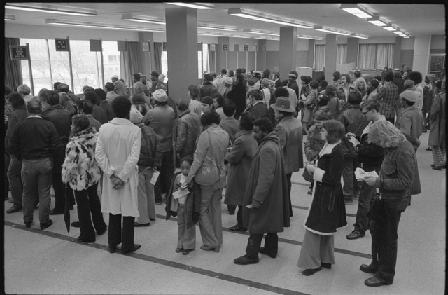 [Lines of people at the offices of the Baltimore City Welfare Office, Maryland]