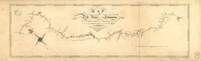 Map of the Red River in Louisiana from the Spanish camp where the exploring party of the U.S. was met by the Spanish troops to where it enters the Mississippi, reduced from the protracted courses and corrected to the latitude /
