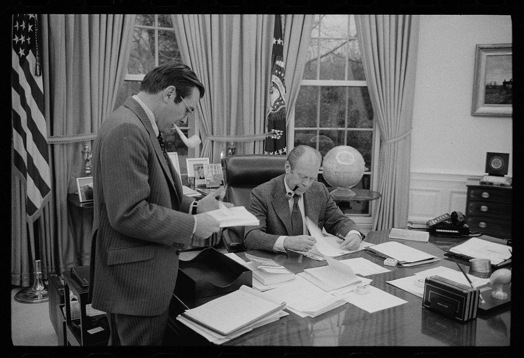 [President Gerald Ford meeting with Donald Rumsfeld at the White House, Washington, D.C.]