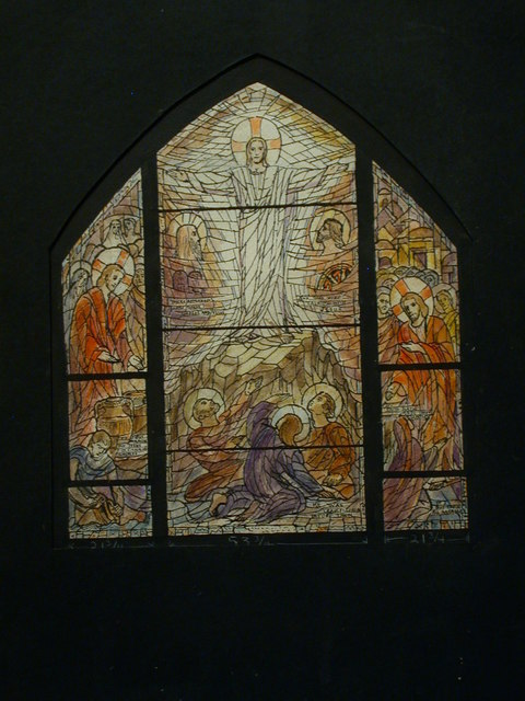 [Design drawing for stained glass window showing Transfiguration for St. Paul's Episcopal Church in Riverside, Connecticut]