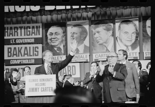 [Jimmy Carter and Mayor Richard J. Daley at the Illinois State Democratic Convention in Chicago, Illinois]