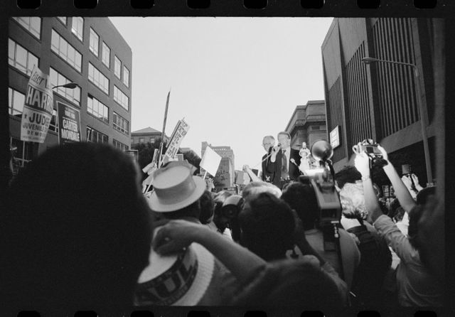[Jimmy Carter at a street rally during a campaign stop in Cleveland, Ohio]