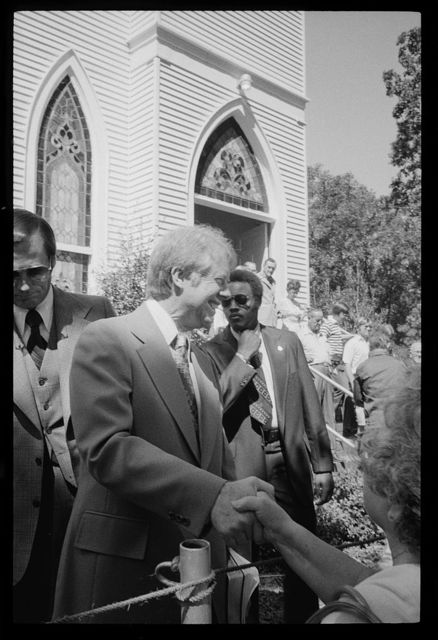 [Jimmy Carter shaking hands after leaving a church in Jacksonville, Florida]