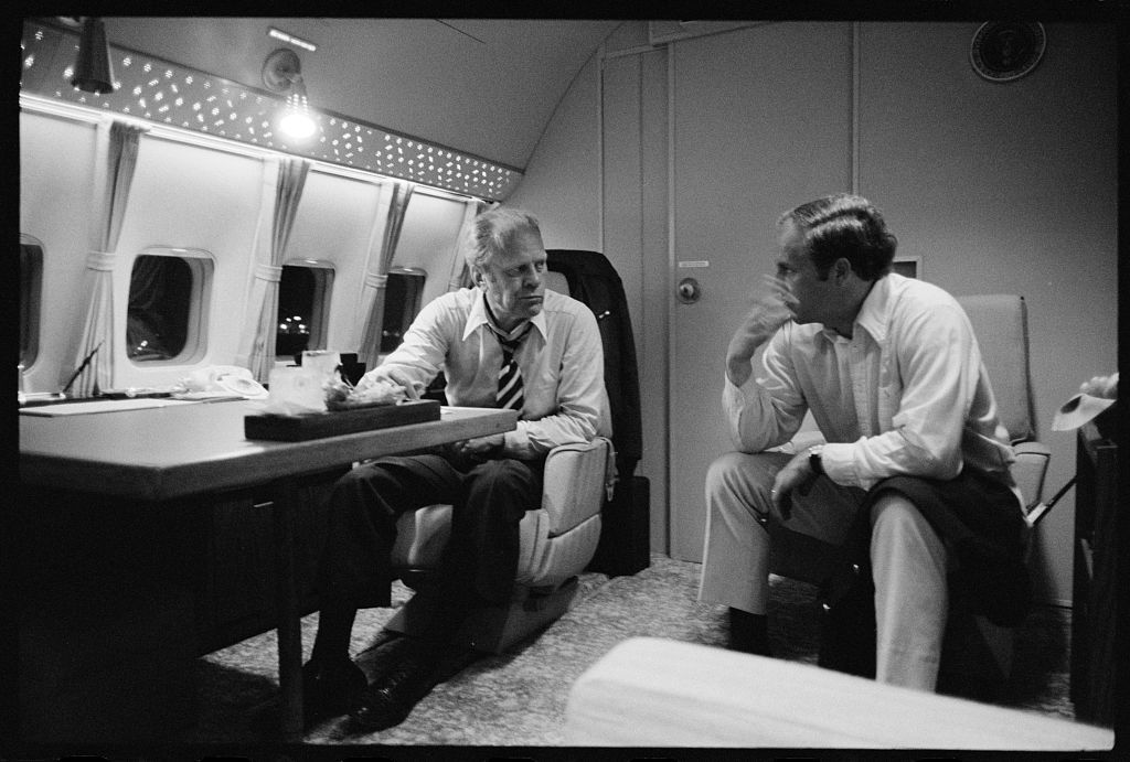 President Gerald Ford aboard Air Force One during a campaign
