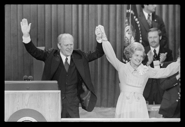 [President Gerald Ford and First Lady Betty Ford celebrate winning the nomination at the Republican National Convention, Kansas City, Missouri]