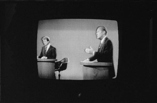 [President Gerald Ford and Jimmy Carter on television during 1st presidential debate in Philadelphia, Pennsylvania]