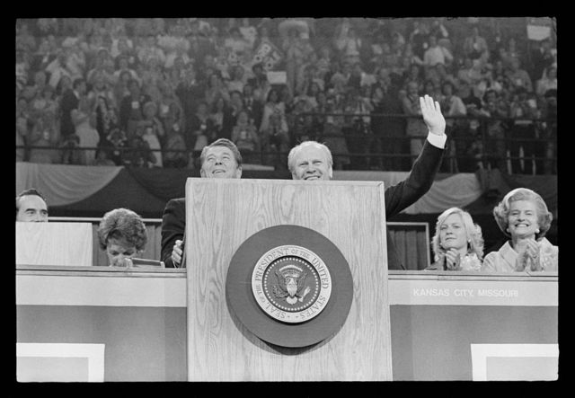 [President Gerald Ford and Ronald Reagan stand at the podium at the Republican National Convention, Kansas City, Missouri]