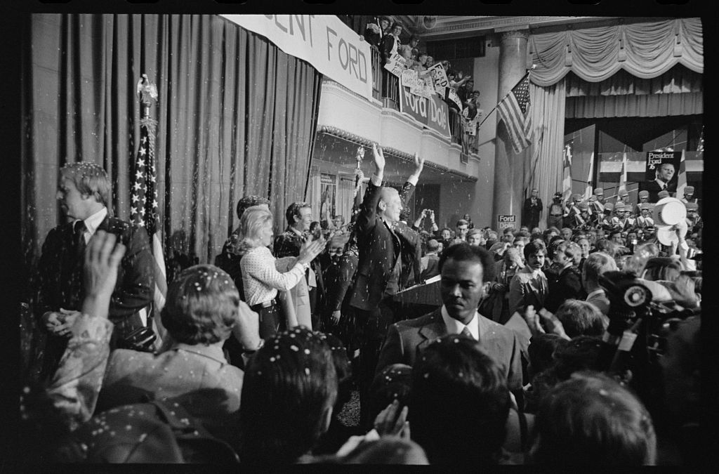 [President Gerald Ford greets supporters at the 1st presidential debate with Jimmy Carter in Philadelphia, Pennsylvania]