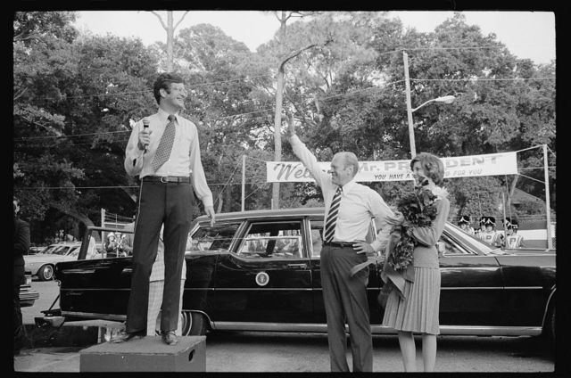 [President Gerald Ford is welcomed at a campaign stop in the South]