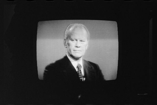[President Gerald Ford on television during 1st presidential debate in Philadelphia, Pennsylvania]