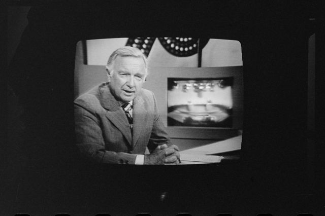 [Walter Cronkite on television during 1st presidential debate between Ford and Carter, Philadelphia, Pennsylvania]