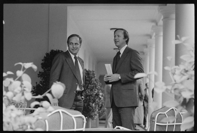 [White House Chief of Staff Richard Cheney with another member of the Ford administration staff at the White House, Washington, D.C.]