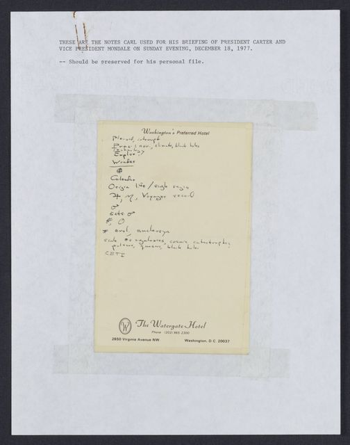 Briefing notes for President Carter and Vice President Walter Mondale
