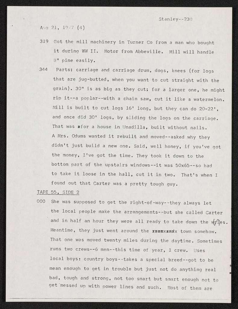 Documentation -- Sound Recording Logs -- Cassettes -- David H. Stanley