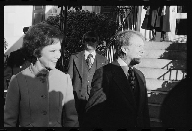 [President-elect Jimmy Carter and First Lady Rosalynn Carter on Inauguration Day]