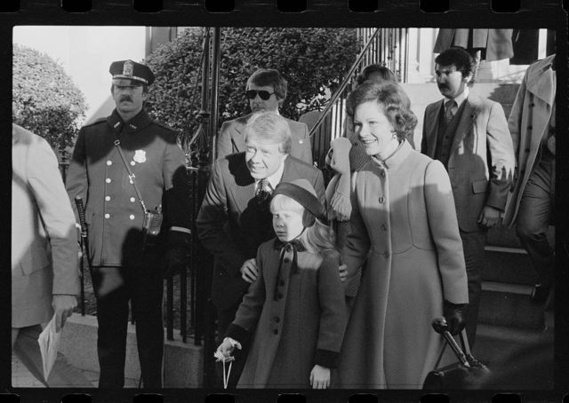 [President-elect Jimmy Carter with Rosalynn and Amy Carter on Inauguration Day]