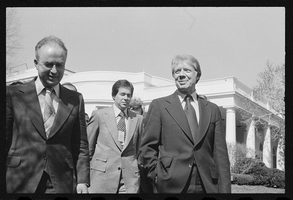 [President Jimmy Carter and Israeli Prime Minister Yitzhak Rabin at the White House, Washington, D.C.]